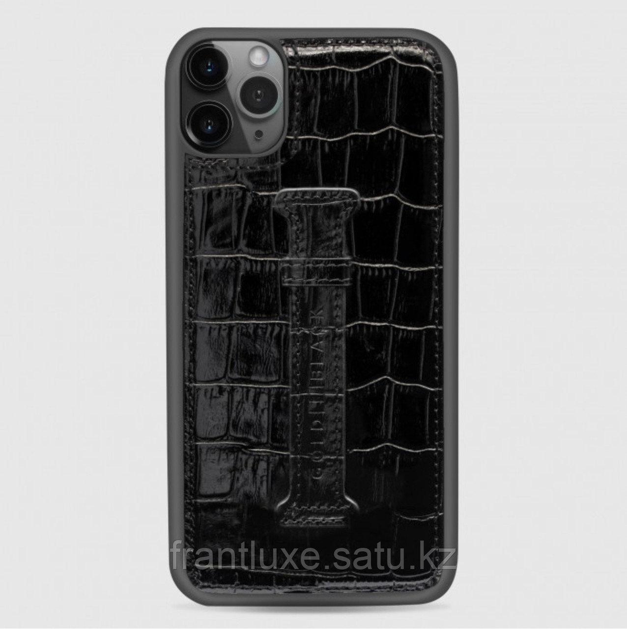 Чехол для телефона iPhone 12 Pro Max с ремешком-держателем Croco чёрный - фото 2