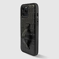 Чехол для телефона iPhone 12 Pro Max с ремешком-держателем Croco чёрный