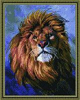 """Алмазная мозаика на подрамнике """"Царь зверей""""  40х50 см на деревянном подрамнике"""
