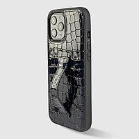 Чехол для телефона iPhone 12 Pro Max с ремешком-держателем синий