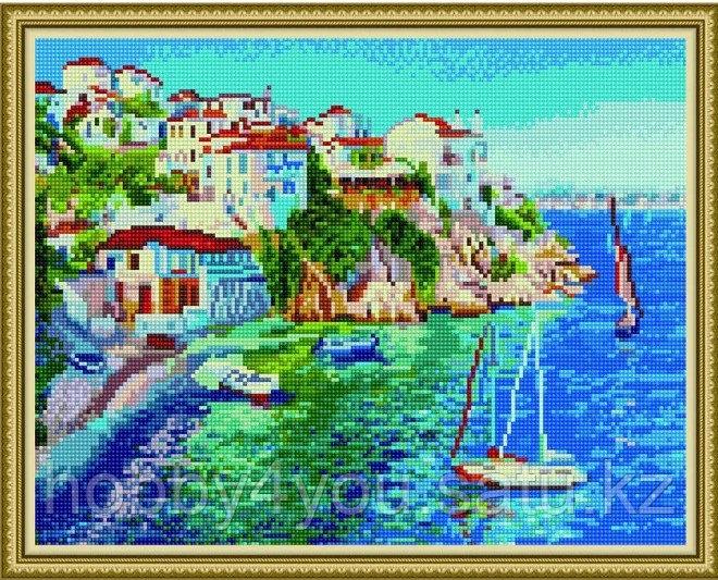 """Алмазная мозаика на подрамнике """"Белые домики Греции"""" 40х50 см"""