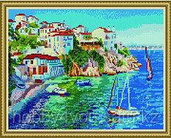 """Алмазная мозаика на подрамнике """"Белые домики Греции"""" 40х50 см на деревянном подрамнике"""