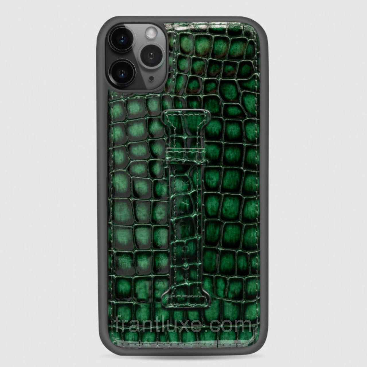 Чехол для телефона iPhone 12 Pro Max с ремешком-держателем зелёный - фото 2