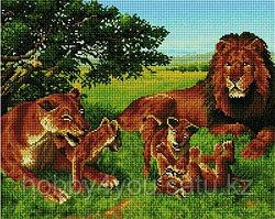 """Алмазная мозаика на деревянном подрамнике """"Семья львов со львятами"""" 40х50 см"""