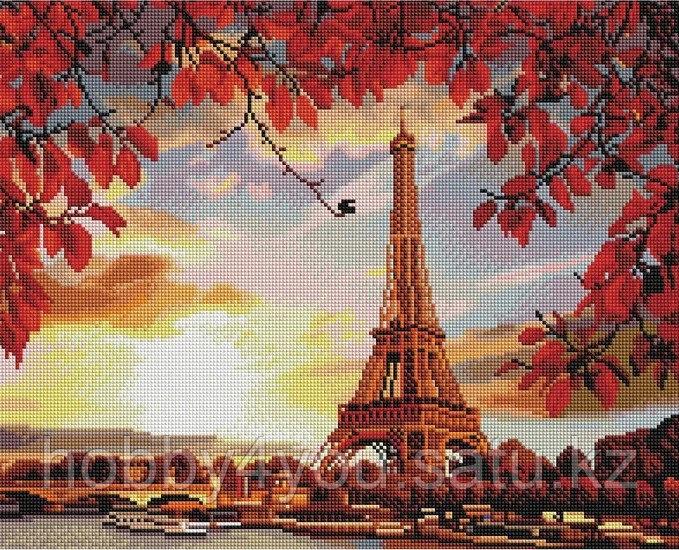 """Алмазная мозаика на деревянном подрамнике """"Осень в Париже"""" 40х50 см"""