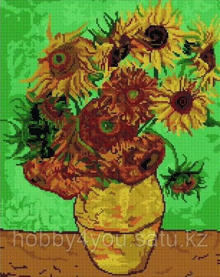 """Алмазная мозаика на деревянном подрамнике """"Подсолнухи"""",  худ. Ван Гог 40х50 см"""