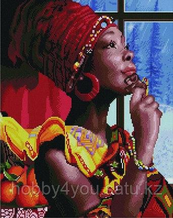 """Алмазная мозаика на деревянном подрамнике """"В мечтах об Африке"""" 40х50 см, фото 2"""