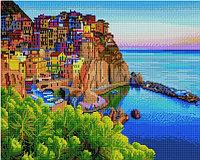 """Алмазная мозаика на деревянном подрамнике """"Цветные домики у моря"""" 40х50 см"""