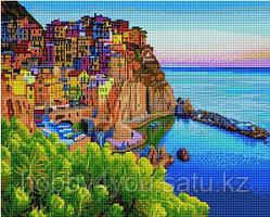 """Алмазная мозаика на подрамнике """"Цветные домики у моря"""" 40х50 см"""