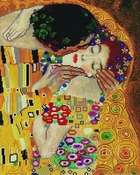 """Алмазная мозаика на подрамнике """"Поцелуй"""", худ. Г. Климт,  40х50 см"""