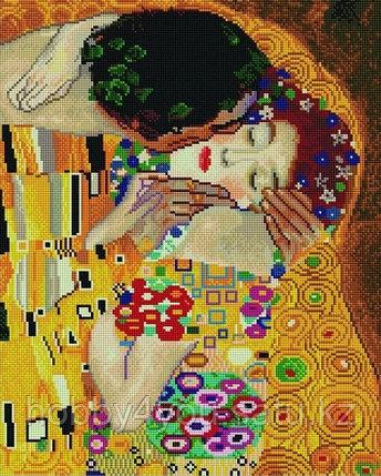 """Алмазная мозаика на подрамнике """"Поцелуй"""", худ. Г. Климт,  40х50 см, фото 2"""