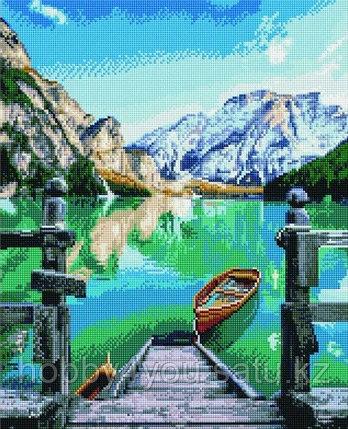 """Алмазная мозаика на подрамнике """"Горное озеро"""" 40х50 см, фото 2"""