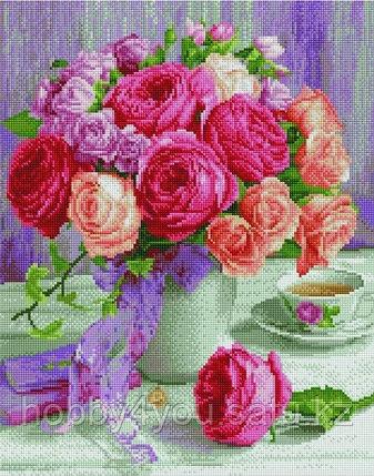 """Алмазная мозаика на подрамнике """"Букет нежных роз"""" 40х50 см, фото 2"""