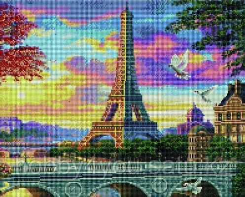 """Алмазная мозаика на подрамнике """"Розовый закат в Париже"""" 40х50 см, фото 2"""