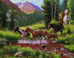 """Алмазная мозаика на деревянном подрамнике """"Лошади в горах"""" 40х50 см"""