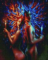 """Алмазная мозаика на деревянном подрамнике """"Огонь и воздух"""" 40х50 см"""