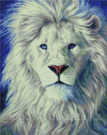 "Алмазная мозаика на подрамнике ""Белый лев"" 40х50 см"