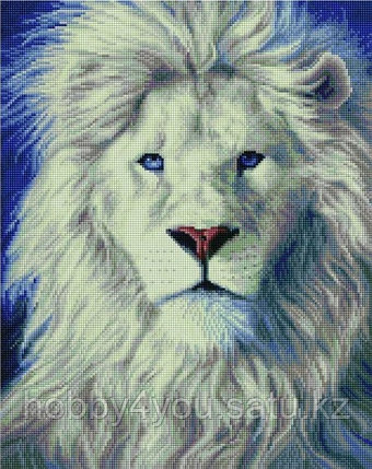 "Алмазная мозаика на подрамнике ""Белый лев"" 40х50 см, фото 2"