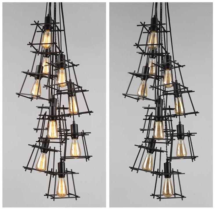 Черная подвесная люстра в стиле лофт на 8 ламп SD6191-8BK - фото 4