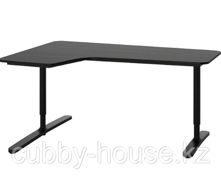 БЕКАНТ Углов письм стол левый, ясеневый шпон/черная морилка, белый, 160x110 см, фото 2