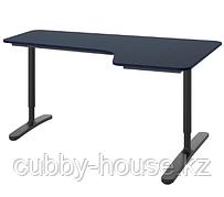 БЕКАНТ Углов письм стол правый, линолеум синий, черный, 160x110 см
