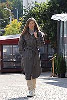 Женское осеннее драповое коричневое пальто Individual design 20209 коричнево-серая_елочка 42р.