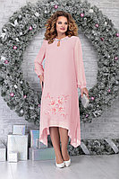 Женское осеннее шифоновое розовое нарядное большого размера платье Ninele 7307 пудра 52р.