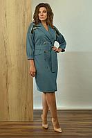 Женское осеннее трикотажное бирюзовое платье Angelina 599 48р.