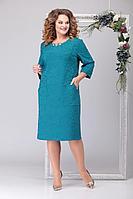 Женское осеннее трикотажное голубое нарядное большого размера платье Michel chic 2034 голубой 54р.