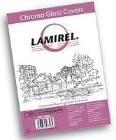 "Обложки картонные для переплёта глянцевые А4, 230гр/м2, чёрные ""Lamirel Chromolux"" 100шт/уп."