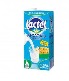 Молоко Lactel, 1 литр, 1,5%, тетрапакет