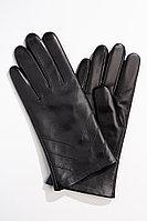 Женские осенние кожаные черные перчатки ACCENT 491 черный 22р.