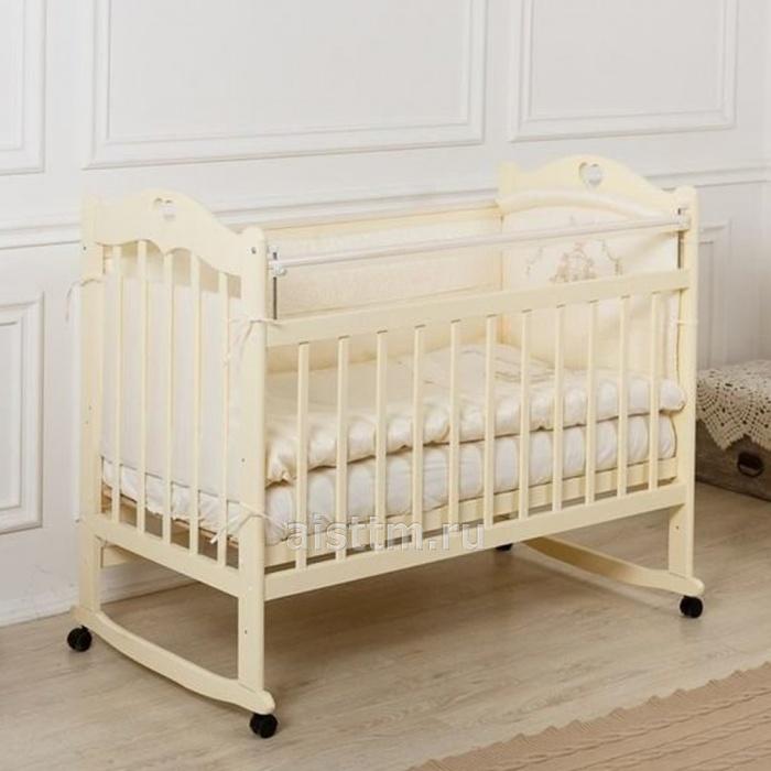 Кровать детская Incanto SOFI с сердечком (колесо, качалка, опуск.планка) слоновая кость