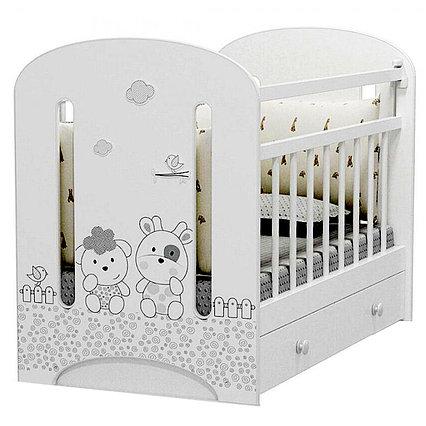 Кровать детская Fattoria Nuvola (маятник с ящиком) белый