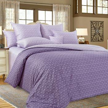 """Постельное бельё """"Этюд фиолетовый"""" на молнии, 4 наволочки, размер 2,0 сп.Евро пододеяльник"""