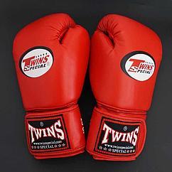 Боксерские перчатки «twins bgll-1» красные на шнурках