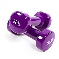 Гантели для фитнеса, винил, 5LB (2,3 кг х 2 шт) цвета в ассортименте: красный, салатовый, фиолетовый