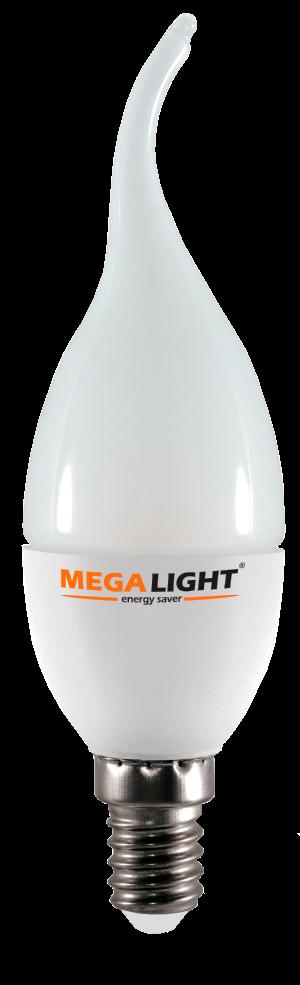 """Лампа LED C37 """"Свеча на ветру"""" 7w 230v 4000K E14 MEGALIGHT (100) NEW"""