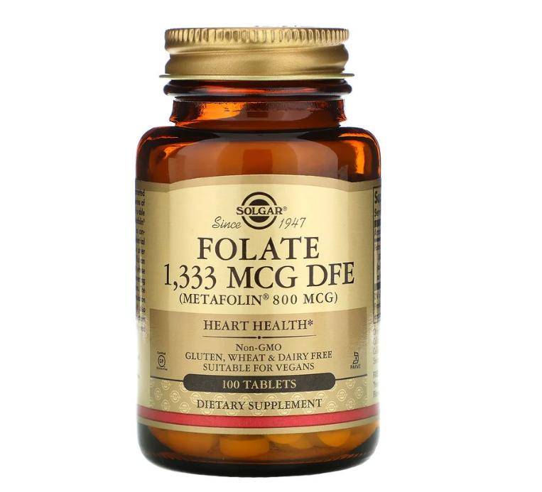 Solgar, фолиевая кислота, 800 мкг, 100 таблеток