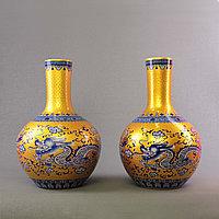 Вазы с Синим драконом. Китайские вазы Императорского желтого цвета.