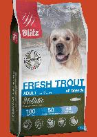 Blitz Holistic Fresh Trout Adult Dog All Breeds,низкозерновой корм для взрослых собак с форелью,уп.500 гр.