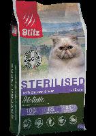 Blitz Holistic Chicken&Liver Adult Sterilised Cat,низкозерновой корм для стерилизованных кошекс курицей и