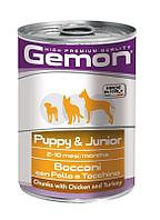 Gemon Dog Puppy&Junior Chunks Chiken&Turkey,кусочки для щенков с курицей и индейкой,банка 415 гр.
