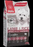 Blitz Sensitive Adult Small Breeds Lamb & Rice,корм для взрослых собак мелких пород с ягненкоми рисом,уп.0,500