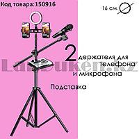 Кольцевая лампа и штатив LED лампа для селфи (3 режима) с 2 держателями для телефона микрофона и подставка