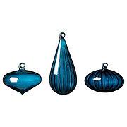 VINTER 2020 ВИНТЕР 2020 Декоративный шарик, 3 шт., различные формы/стекло синий