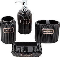 """Набор для ванной """"Классика"""" 4 предмета (мыльница, дозатор для мыла, 2 стакана), цвет чёрный"""