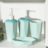 Набор для ванной комнаты 4 предм; дозатор, мыльница, подставка, стакан, цвет МИКС