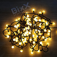 """Гирлянда """"Глянцевые шарики"""" - 10 метров, 60 лампочек, теплый свет, светит постоянно"""