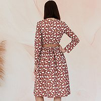 Платье женское на пуговицах молочного цвета, анималистический принт 48